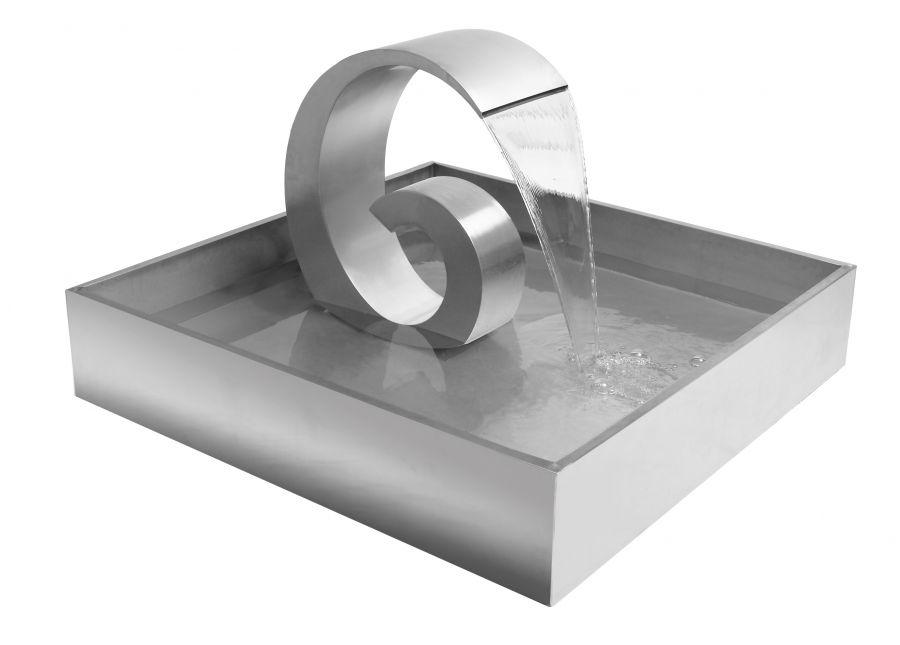 fontaine de jardin en acier inox mini ammonite vague en g petite 60cm 409 99