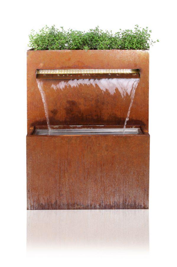 langley cascade jardini re en acier corten avec lumi res led 89cm x 72cm 459 99. Black Bedroom Furniture Sets. Home Design Ideas